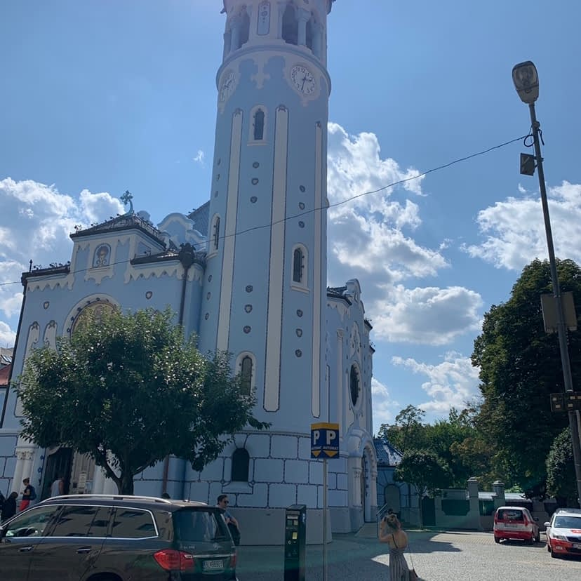 A blue church, advised to visit from the Bratislava travel guide