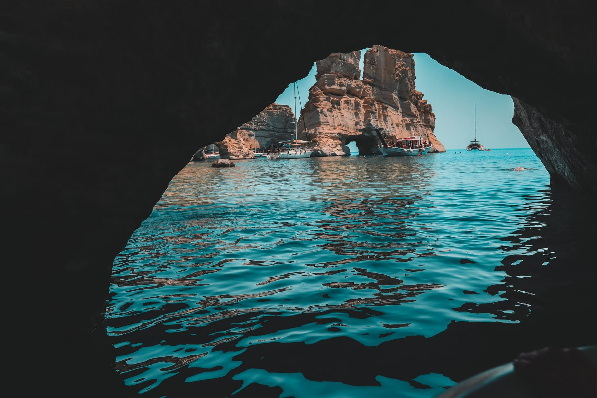 A view from a cave at Kleftiko, Milos. Things to do in Milos