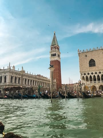 San marco square seen from the sea in Venice. What to do in Venice