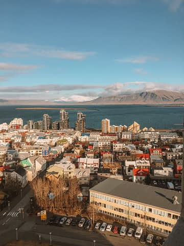 View from Hallgrimskirkja in Reykjavik with no snow. What to do in Iceland.