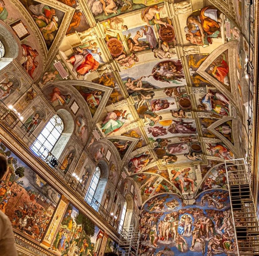 Sistine chapel with art from Michaelangelo as part of our travel guide.