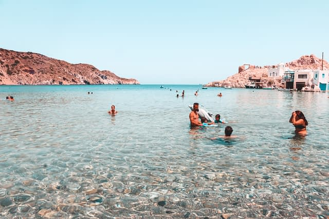 Firopotamos beach view with crystal clear water surrounding. Best beaches in Milos
