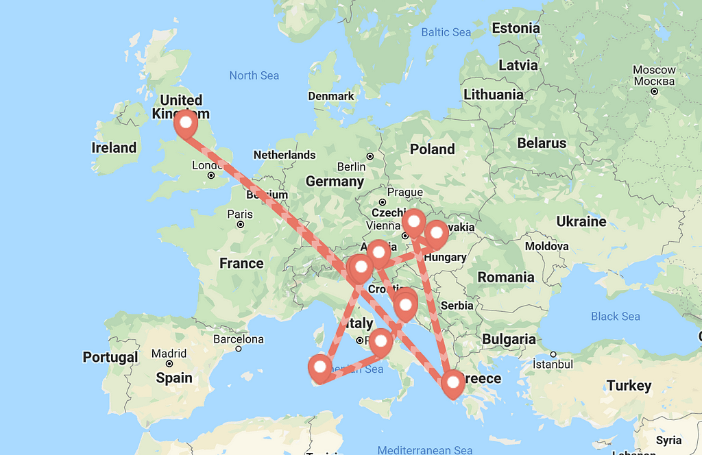 A map of europe with lines pointing out the cheap budget travel routes which were taken.