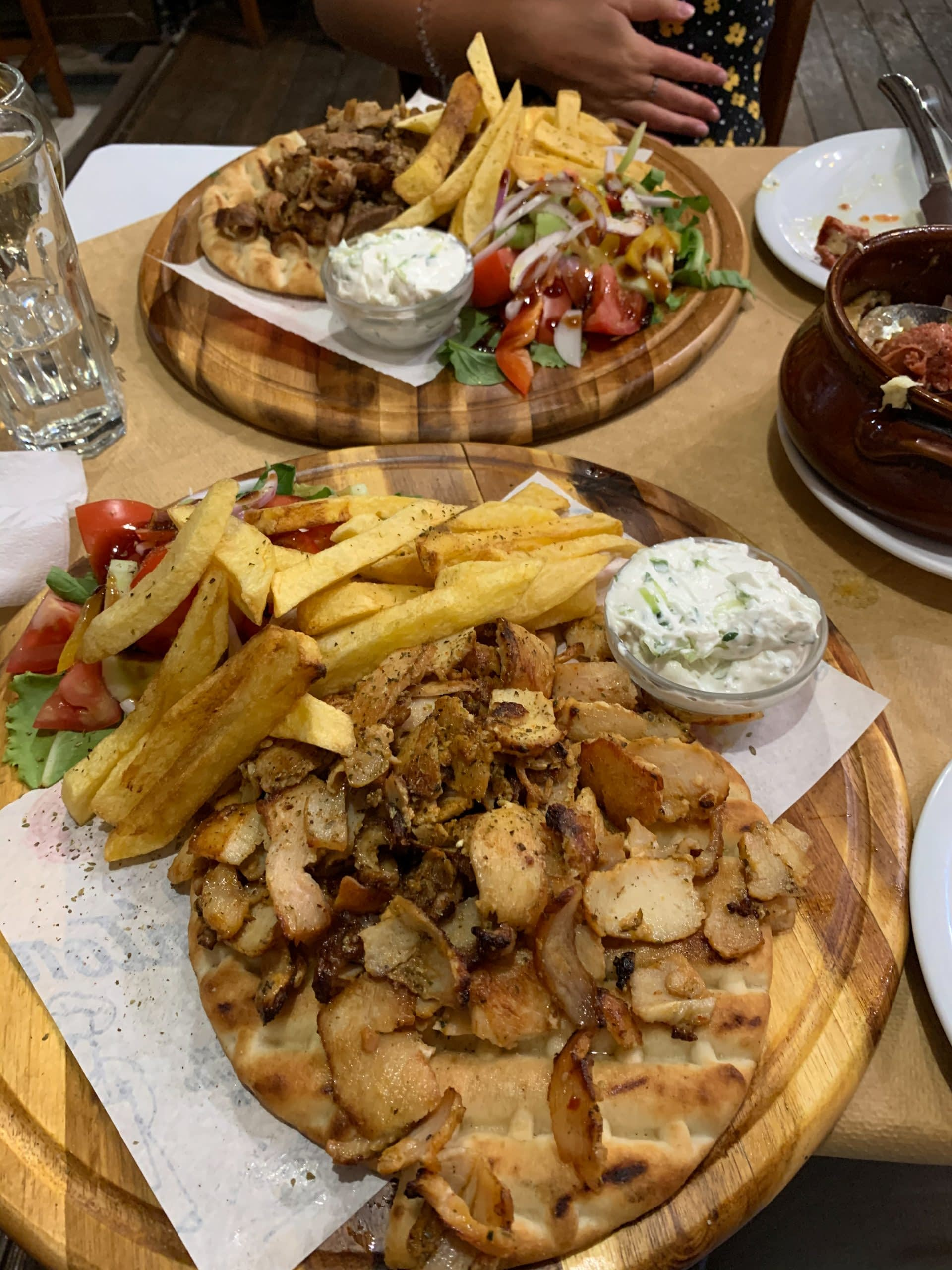 A platter of Souvlaki and chips in the Mills restaurant in Ios. Where to eat in Ios