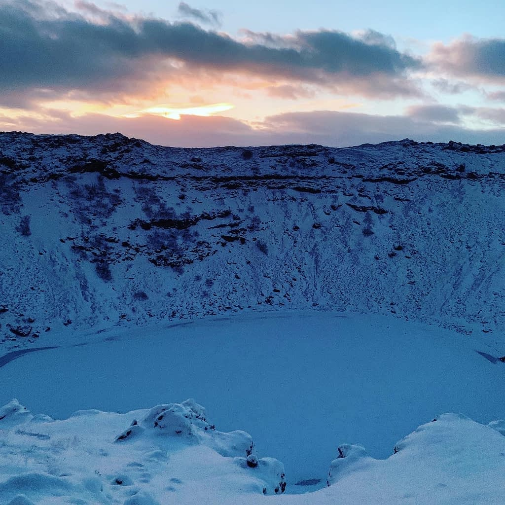 The skyline near the keri crater as part of the things to do in Iceland.