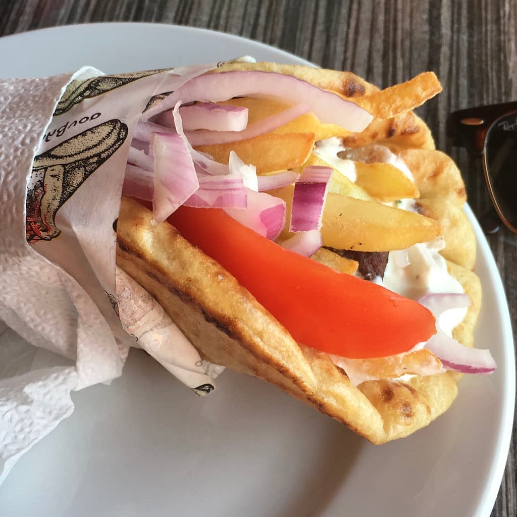 Pitta Gyros, part of the lassi, kefalonia guide
