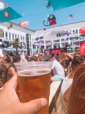 A pint of beer at an outdoor party. Things to do in Ibiza