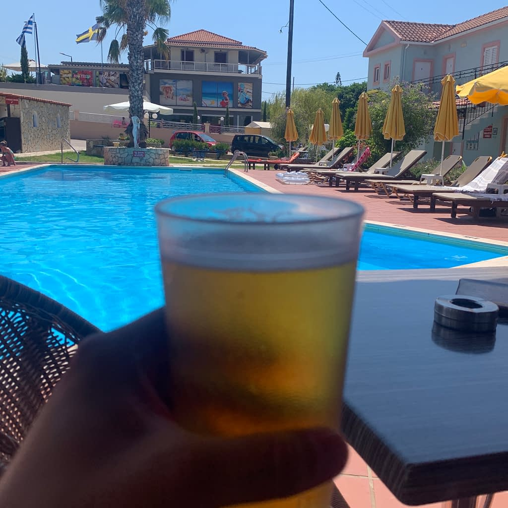 A beer and a swimming pool