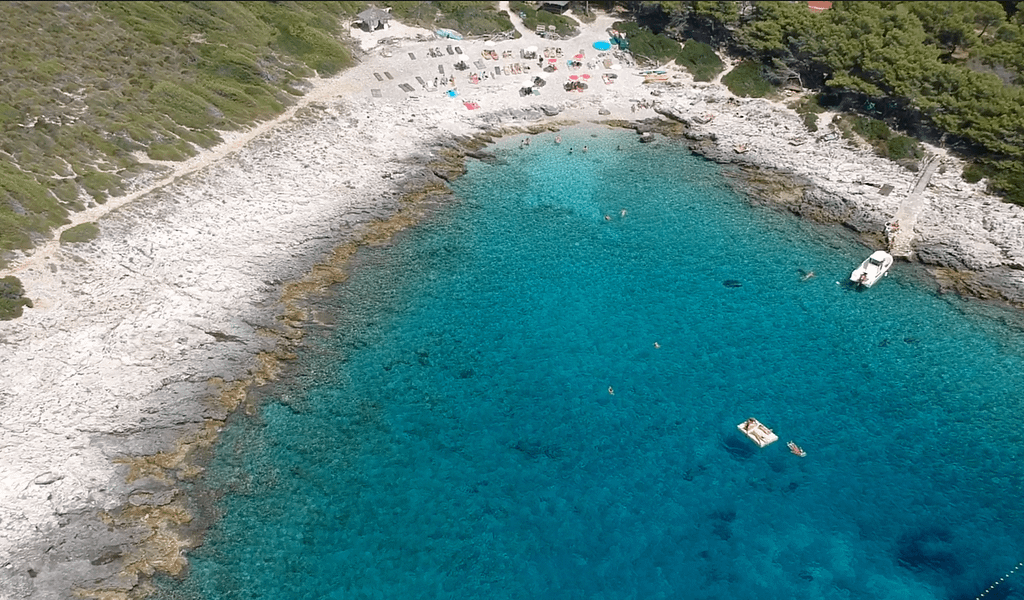 Aerial view pf visiting Jerolim beach as part of the things to do in Hvar.