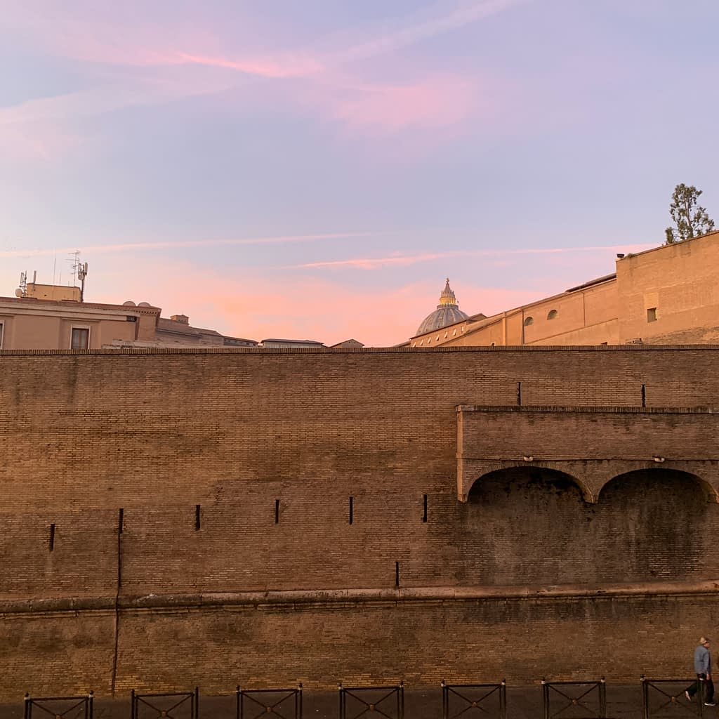 Vatican city walls. Where to stay in a 3 day itinerary.