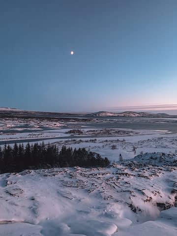 Thingvellir National Park with a moon and trees in the background. Things to do in Iceland