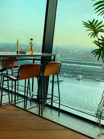 A restaurant with a view of Amsterdam. Things to do in Amsterdam.