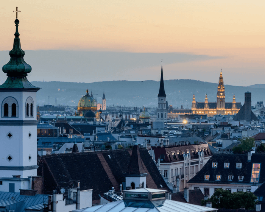 Aerial view of Vienna as part of the travel guide.