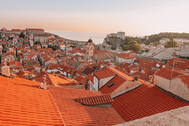 Aerial view of the red tiled houses in Dubrovnik