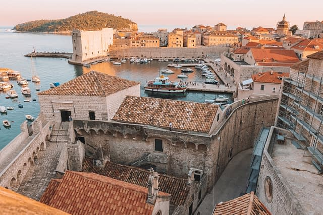 A view of Dubrovnik old town and the harbour