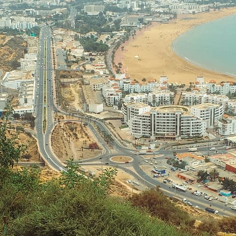 A viewpoint of Agadir as part of the Morocco travel guide.