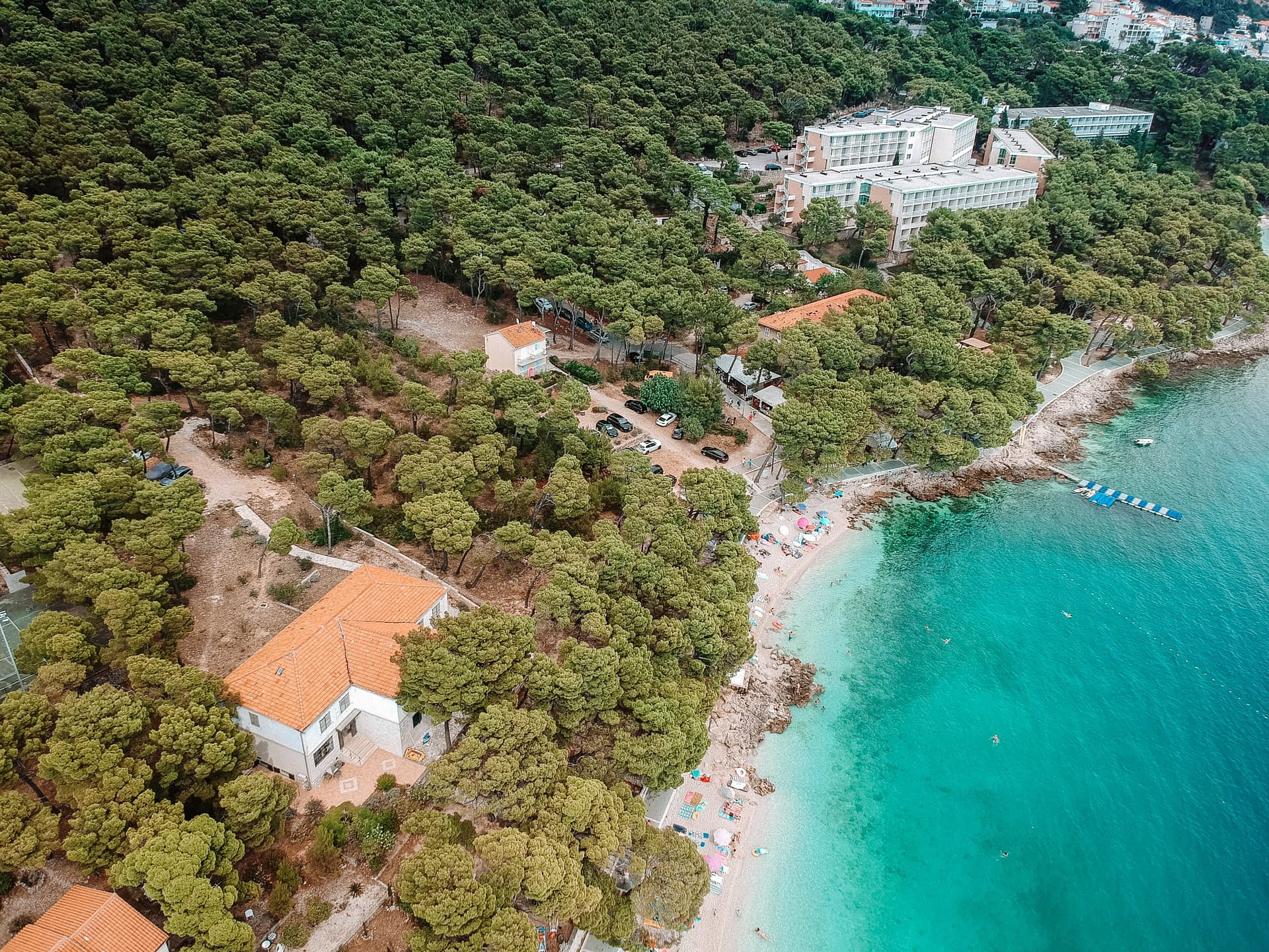 Brela aerial view with turquoise water. Your guide to the Makarska Riviera