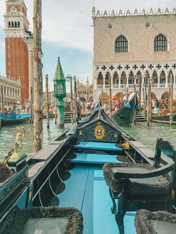 A gondola facing San Marco square. Things to do in Venice