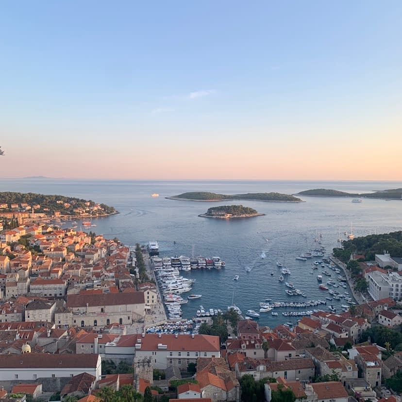 A viewpoint of Hvar and the Pakleni islands during sunset