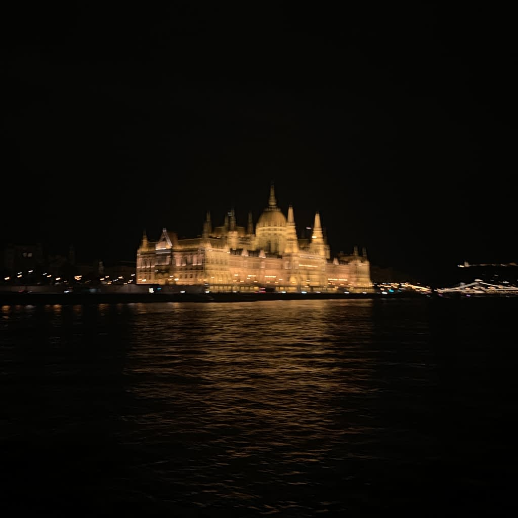 The Hungarian parliament building lit up at night