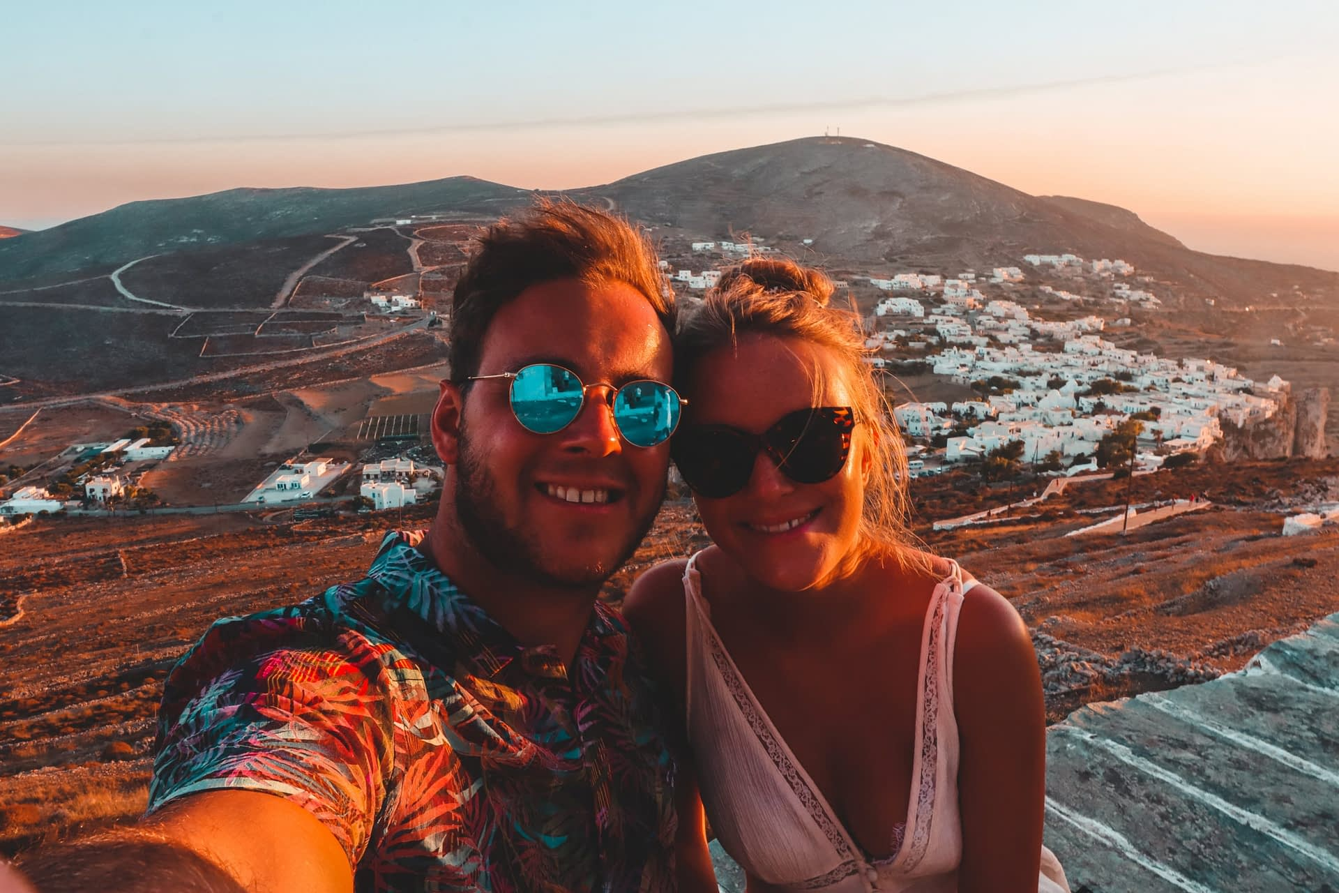 A couple taking a selfie at Panagia