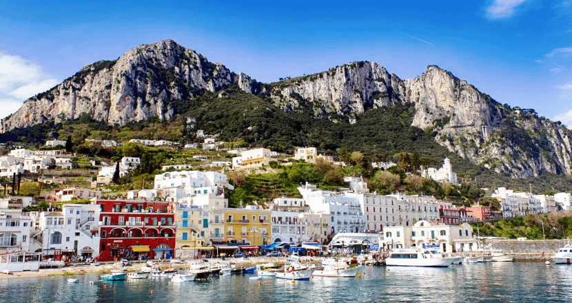 A view of the island of Capri as advised to visit as part of a 1 day itinerary in Naples.