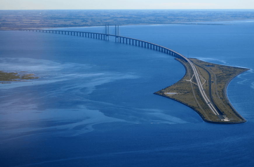 Øresund Bridge in the middle of the sea.