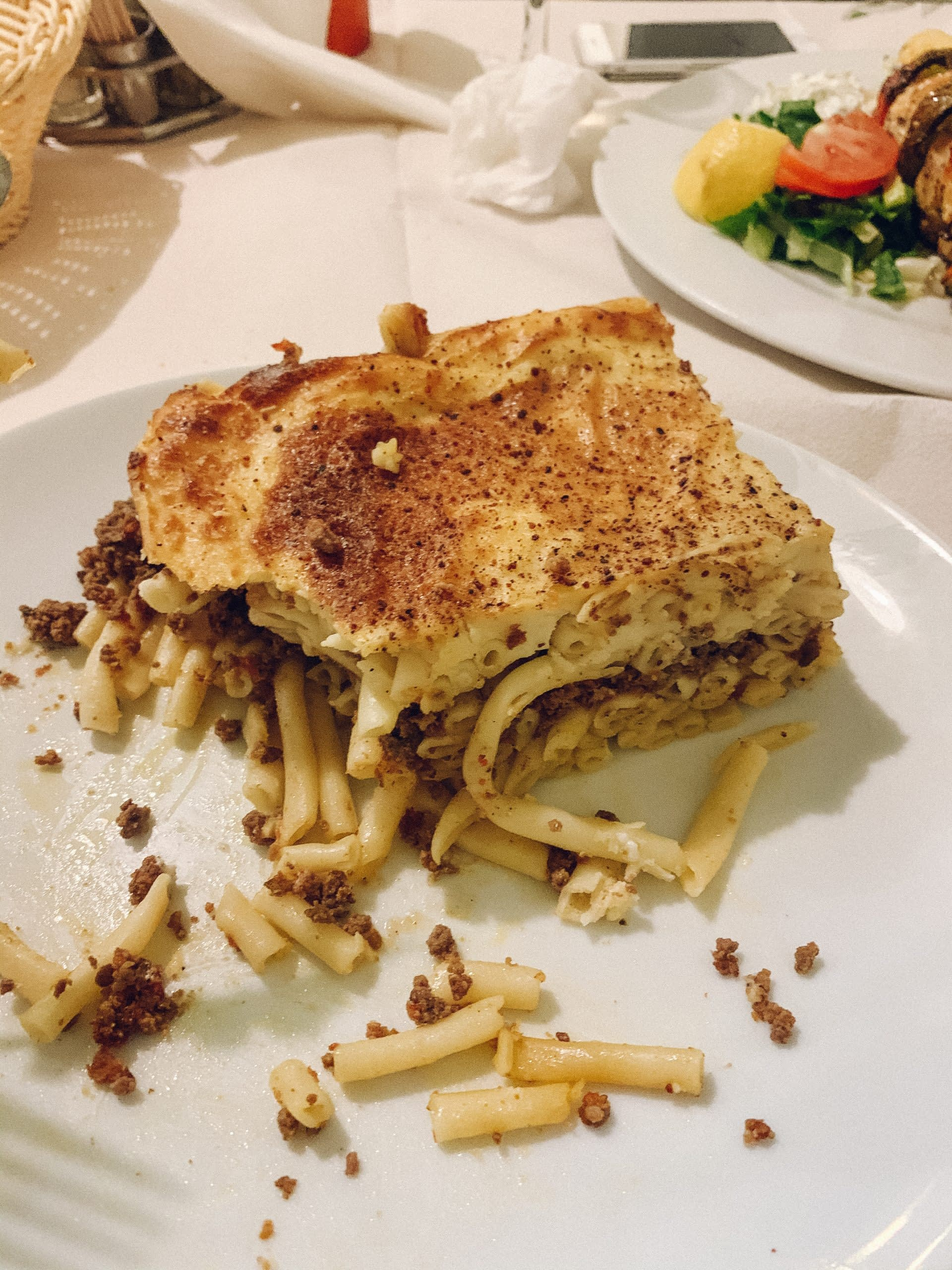 A plate of pastitsio in Ios. Ios travel blog