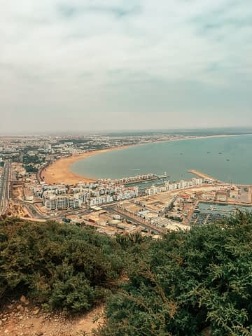 Aerial view of the beach and seafront of Agadir. Morocco travel guide.