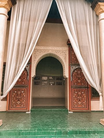 Entrance for Le Jardin Secret with patterns and a curtain as part of the Morocco travel guide