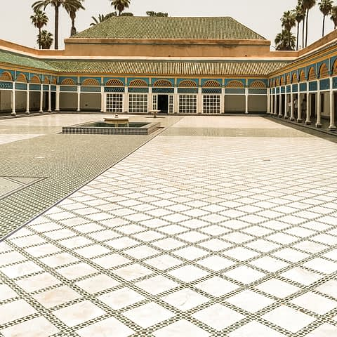 Bahia Palace courtyard. Part of the Morocco travel guide.