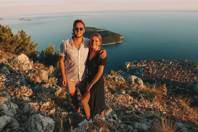 A couple at the top of Mount Srd. What to do in Dubrovnik