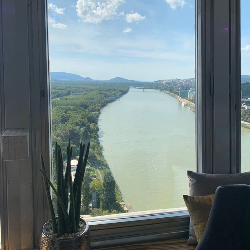 A view of the Danube river from inside a restaurant.