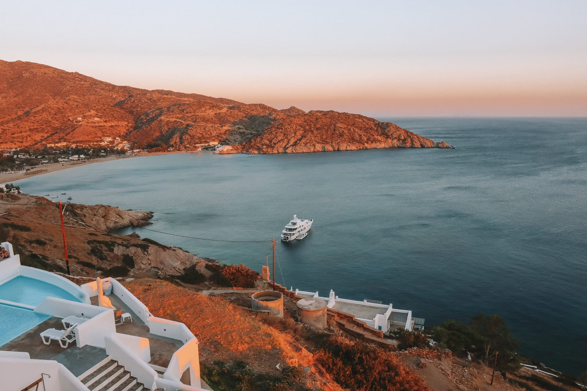View of Mylopotas from Petradi hotel during sunset. Where to stay in Ios