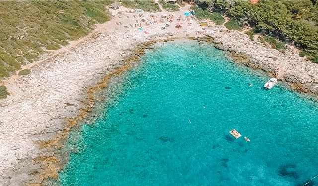 Aerial view of visiting Jerolim beach as part of the things to do in Hvar.