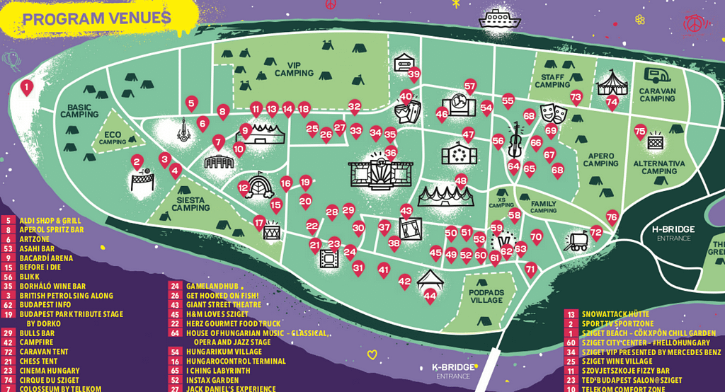 A map of Sziget festival as part of the Sziget budapest guide.