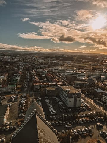Aerial view of Reykjavik from the Hallgrimskirkja church