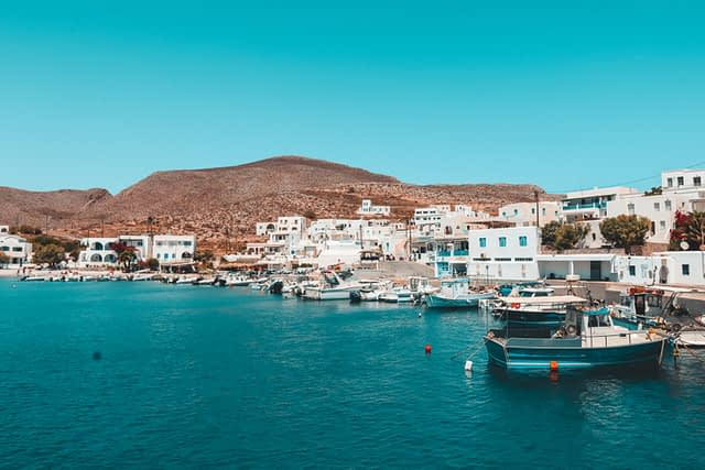 Whitewashed houses and ocean in Folegandros.