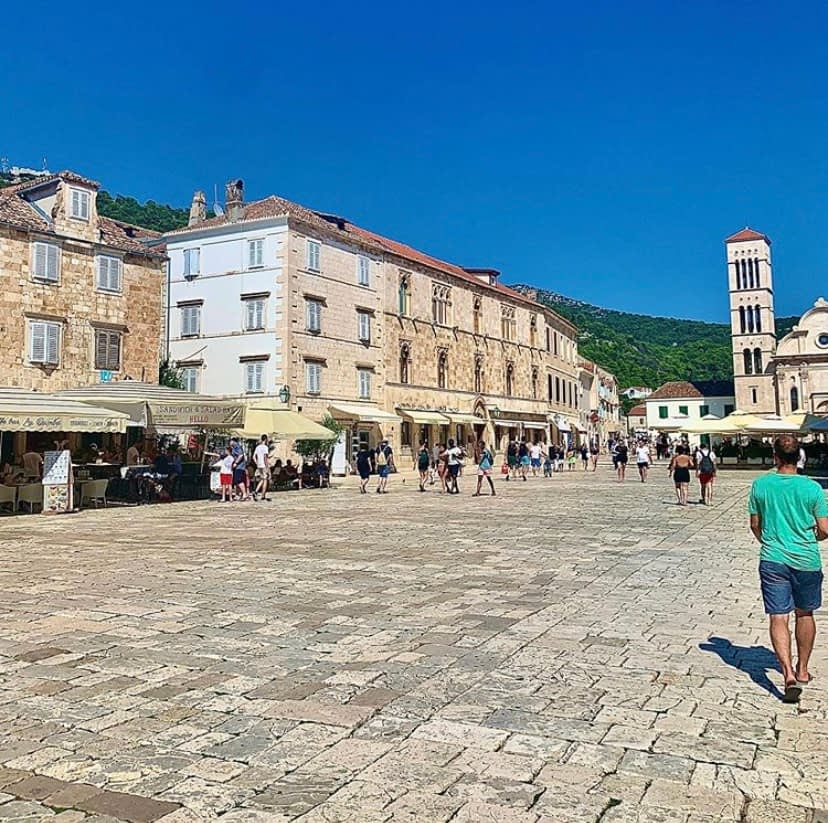 Main square of Hvar, with lots of tourists. Perfect for things to do in Hvar.