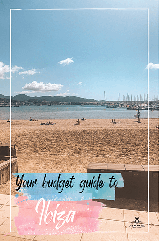 Becachfront with ocean and boats and some clouds. Your budget guide to Ibiza
