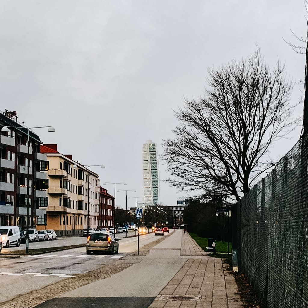 Turning torso tower from the distance with roads in the background