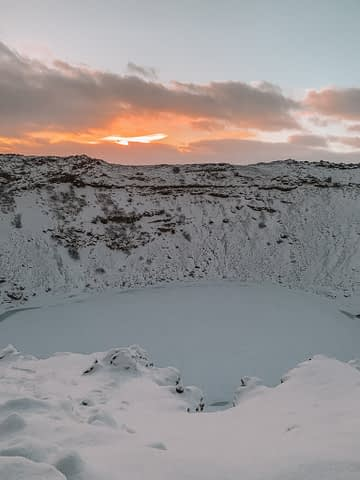 Kerid Crater covered in snow as part of what to do in Iceland