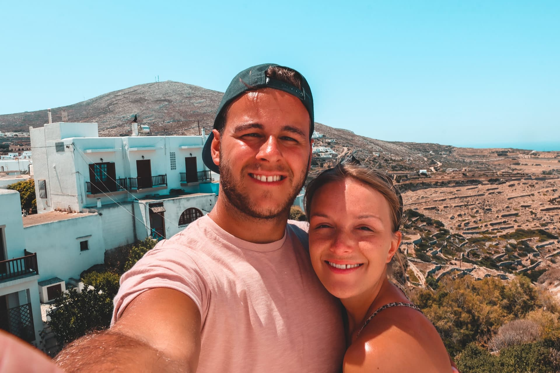 A couple taking a selfie in Folegandros