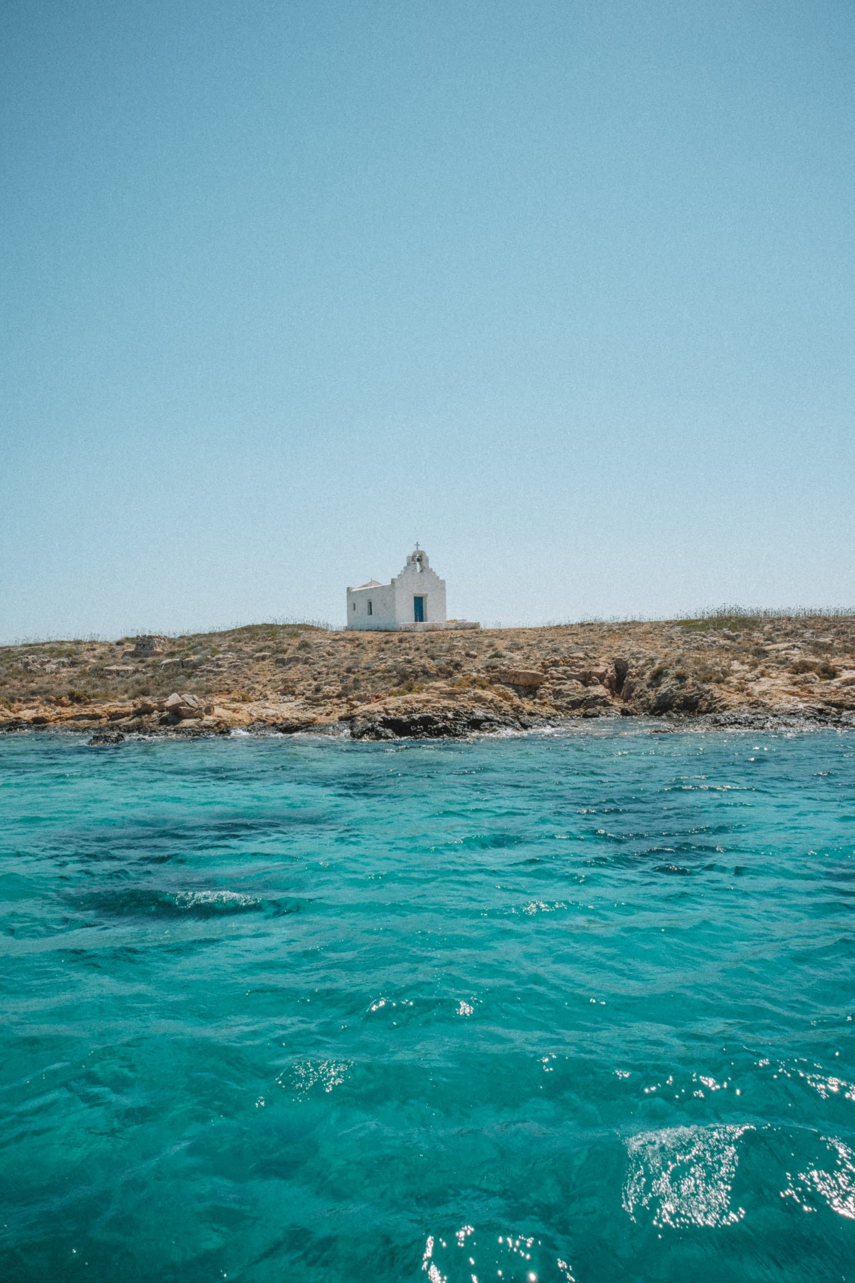 A church on rocks in the sea. Things to see in Paros