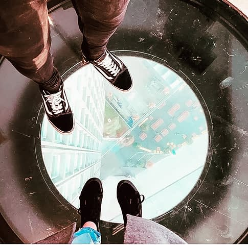 See-through glass floor at the top of a tower