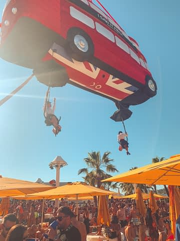 London bus balloon floating down as part of the things to do in Ibiza