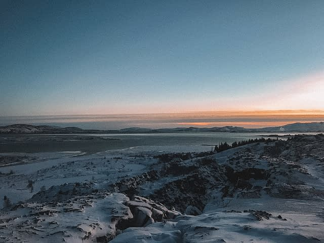 Thingvellir National Park with the sunsetting in the background. What to do in Iceland