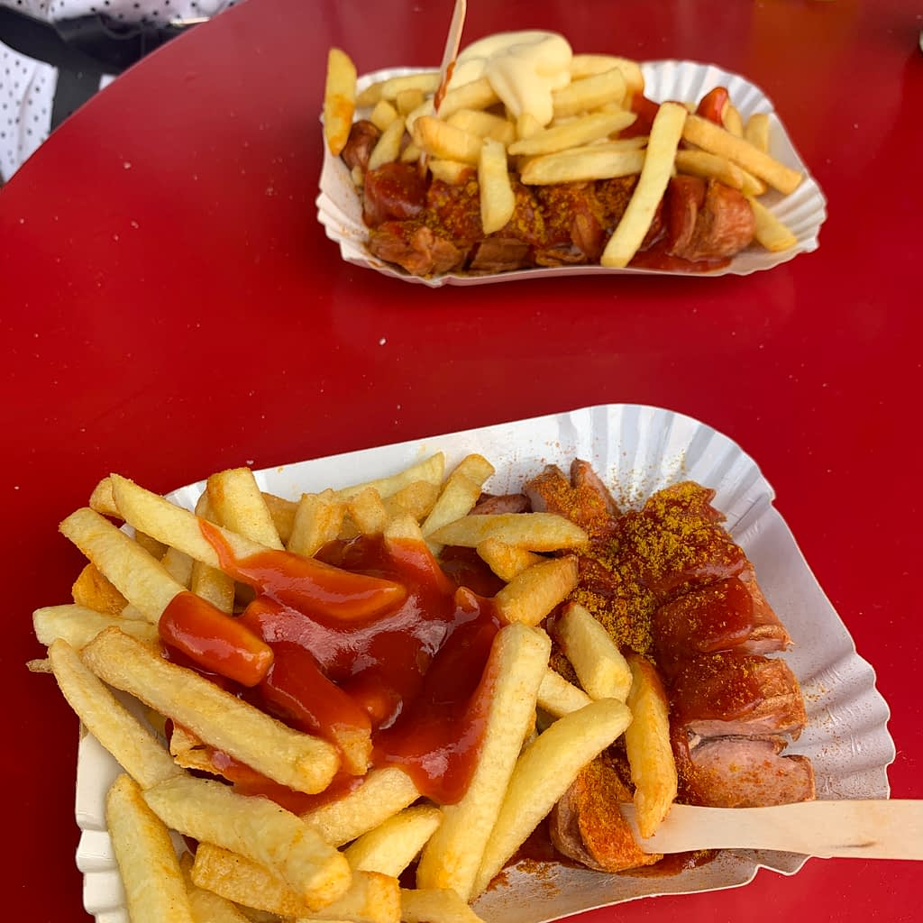 A currywurs with chips. Advised to eat on a Berlin Vcity break.