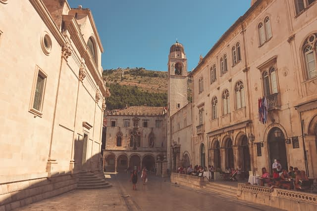 Dubrovnik old town street with the clock tower