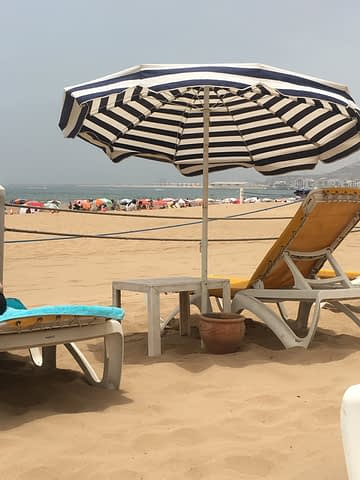 A beach with sunloungers and unbrellas